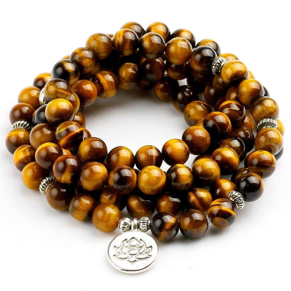 Solar Plexus Manipura Chakra Tiger Eye Bracelet 108 Beads Mala Prayers Bracelet Necklace
