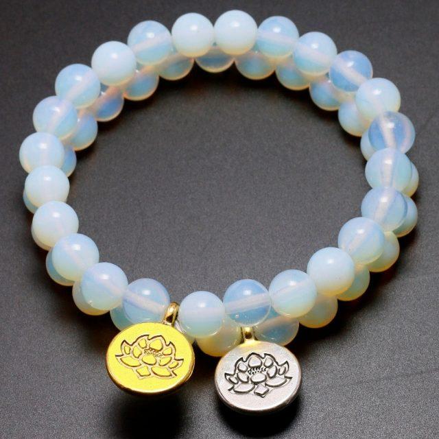 Crown Sahastrara Chakra Moonstone Bracelet featuring Lotus Charm Pendant