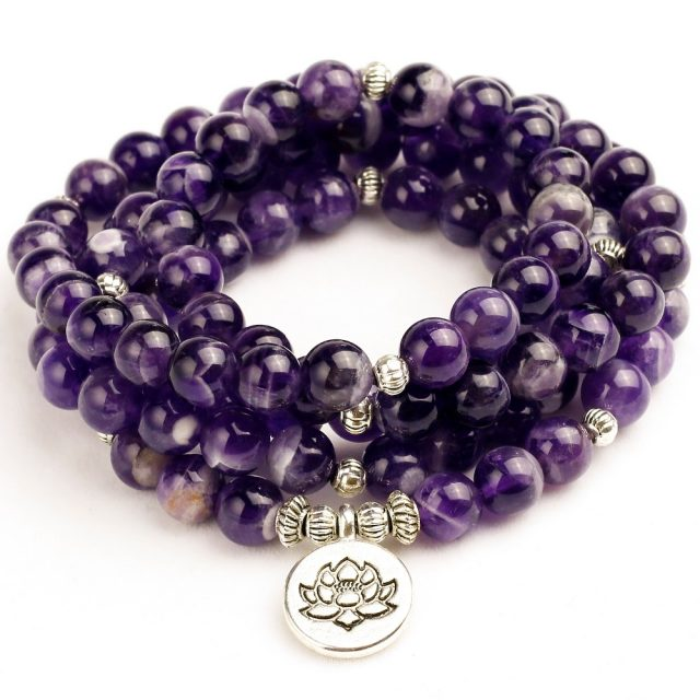 Third Eye Ajna Chakra Amethyst Bracelet 108 Beads Mala Prayers Bracelet Necklace